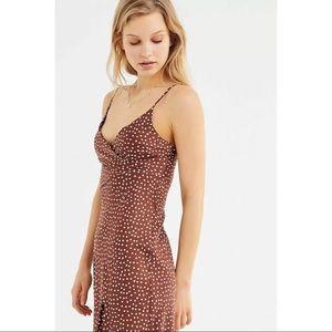 UO Kelly Surplice Midi Slip Dress in Brown